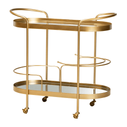 Baxton Studio Modern And Contemporary Glam Oval 2-Tier Mobile Wine Bar Cart, Brushed Gold