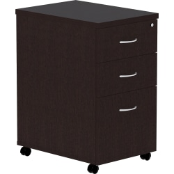 "Lorell® Essentials 22""D Vertical 3-Drawer Mobile Pedestal File Cabinet, Espresso"
