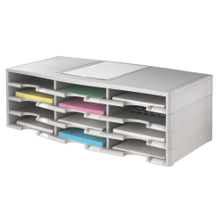 Office Depot® Brand Stackable Plastic Literature Organizer, 12 Compartments, Gray