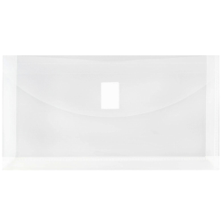 """JAM Paper® Plastic Envelopes with Hook and Loop Closure, #10, 5 1/4"""" x 10"""", Clear, Pack Of 12"""