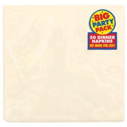"Amscan 2-Ply Paper Dinner Napkins, 7-3/4"" x 7-3/4"", Vanilla Crème, 50 Napkins Per Pack, Set Of 2 Packs"