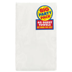 "Amscan 2-Ply Paper Guest Towels, 7-3/4"" x 4-1/2"", Frosty White, 40 Towels Per Pack, Set Of 2 Packs"