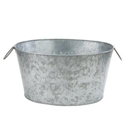 "Mind Reader Heavy-Duty Oval Galvanized Iron Ice Bucket Chiller Tub, 10 1/4""H x 18 15/16""W x 13 3/4""D, Silver"