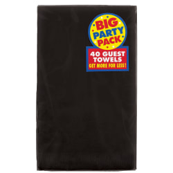 "Amscan 2-Ply Paper Guest Towels, 7-3/4"" x 4-1/2"", Jet Black, 40 Towels Per Pack, Set Of 2 Packs"