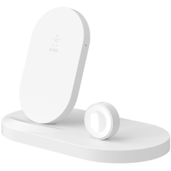 Belkin BOOST↑UP Wireless Charging Dock for iPhone + Apple Watch + USB-A port - Wireless - iPhone, Tablet, iPad, Apple Watch, AirPod, Smartphone, Power Bank - Charging Capability - 1 x USB - White