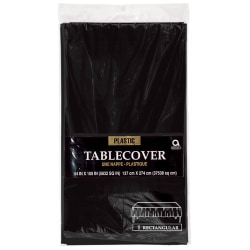 """Amscan Plastic Table Covers, 54"""" x 108"""", Jet Black, Pack Of 9 Table Covers"""
