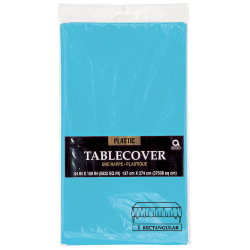 """Amscan Plastic Table Covers, 54"""" x 108"""", Caribbean Blue, Pack Of 9 Table Covers"""