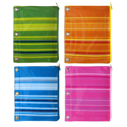 """Inkology Monochromatic Stripes Binder Pencil Pouches, 7-1/2"""" x 9-1/2"""", Assorted Colors, Pack Of 12 Pouches"""