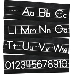 Schoolgirl Style Mini Bulletin Board Set, Industrial Chic Alphabet Line: Manuscript, Preschool - Grade 2