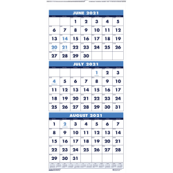 """House of Doolittle Three-month Vertical Academic Wall Calendar - Julian Dates - Monthly - 1.2 Year - June 2020 till July 2021 - 3 Month Single Page Layout - Wire Bound - Wall Mountable - Teal - 8"""" Height x 17"""" Width"""