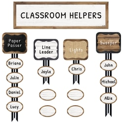"Schoolgirl Style Job Assignment Mini Bulletin Board Set, 6 5/8"" x 23 15/16"", Industrial Chic, Pre-K to Grade 5"