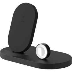 Belkin BOOST↑UP Wireless Charging Dock for iPhone + Apple Watch + USB-A port - Wireless - iPhone, Tablet, iPad, Apple Watch, AirPod, Smartphone, Power Bank - Charging Capability - 1 x USB - Black