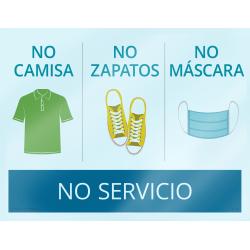 "ComplyRight™ No Shirt/No Shoes/No Mask/No Service Window Cling, Spanish, 8 1/2"" x 11"""