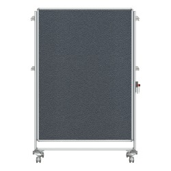 "Ghent Nexus Partition Double-Sided Mobile Magentic Fabric/Dry-Erase/Bulletin Board, 46 1/ x 4""65"", Silver Aluminum Frame"