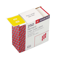 """Smead® DCC and DCCRN Color-Coded Numeric Labels, SMD67420, """"Number"""", 1 1/2""""W x 1 1/2""""L, Yellow, 250 Per Roll"""