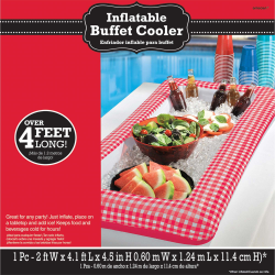 """Amscan Summer Picnic Inflatable Buffet Cooler, 4-1/2""""H x 24""""W x 50""""D, Red Gingham"""