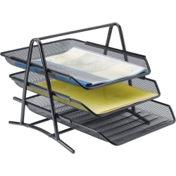 Lorell® Mesh 3-Tier Desk Tray, Black
