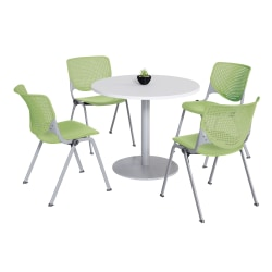 KFI Studios KOOL Round Pedestal Table With 4 Stacking Chairs, White/Lime Green