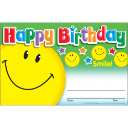 "Trend Happy Birthday Smile Recognition Awards - ""Happy Birthday"" - 8.50"" x 5.50"" - Multicolor - 30 / Pack"