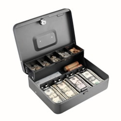 STEELMASTER® Tiered Tray Cash Box, 10 Compartments, Gray