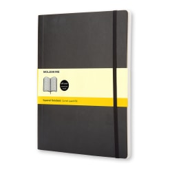 "Moleskine Classic Soft Cover Notebook, 7-1/2"" x 10"", Square Ruled, 192 Pages (96 Sheets), Black"