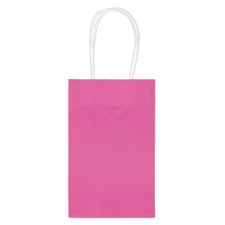 """Amscan Paper Solid Cub Gift Bags, 8-1/4""""H x 5-1/4""""W x 3-1/4""""D, Bright Pink, Pack Of 40 Bags"""