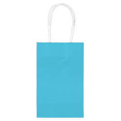"""Amscan Paper Solid Cub Gift Bags, 8-1/4""""H x 5-1/4""""W x 3-1/4""""D, Turquoise, Pack Of 40 Bags"""