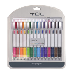 TUL® Retractable Gel Pens, Limited Edition, Medium Point, 0.7 mm, White Barrel, Assorted Bright Ink, Pack Of 14 Pens