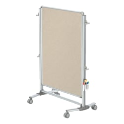 "Ghent Nexus Jr Partition Double-Sided Mobile Magentic Fabric/Dry-Erase/Bulletin Board, 34 1/4"" x 46 1/4"", Beige Board/Silver Aluminum Frame"