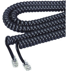 Softalk Coiled Phone Cord, 12', Black, SOF48102