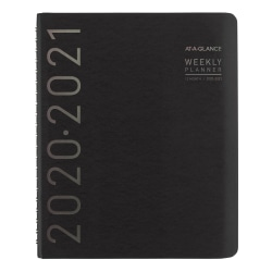 """AT-A-GLANCE® Contempo Academic Weekly/Monthly Planner, 8-1/4"""" x 11"""", Black, July 2020 To June 2021, 70957X05"""