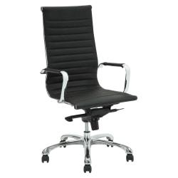 Lorell® Modern Ergonomic Bonded Leather High-Back Chair, Black