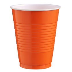 Amscan Big Party Pack Plastic Cups, 16 Oz, Orange Peel, Pack Of 50 Cups, Case Of 4 Packs