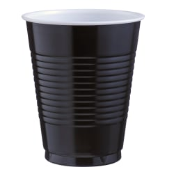 Amscan Big Party Pack Plastic Cups, 16 Oz, Jet Black, Pack Of 50 Cups, Case Of 4 Packs