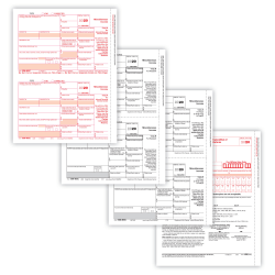 "ComplyRight 1099-MISC Tax Forms, 4-Part, 2-Up, Copies A/B/C, Laser, 8-1/2"" x 11"", Pack Of 25 Form Sets"