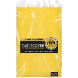 "Amscan Flannel-Backed Vinyl Table Cover, 52"" x 90"", Sunshine Yellow, Pack Of 3 Covers"