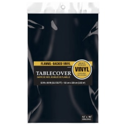 """Amscan Flannel-Backed Table Covers, 52"""" x 90"""", Jet Black, Pack Of 3 Covers"""