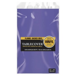 """Amscan Flannel-Backed Table Covers, 52"""" x 90"""", Purple, Pack Of 3 Covers"""