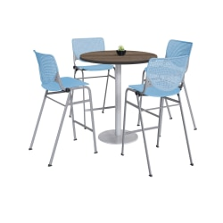 "KFI Studios KOOL Round Pedestal Table With 4 Stacking Chairs, 41""H x 36""D, Studio Teak/Sky Blue"