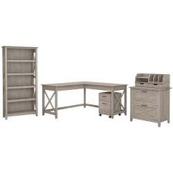 """Bush Furniture Key West 60""""W L Shaped Desk with File Cabinets, Bookcase and Desktop Organizers, Washed Gray, Standard Delivery"""