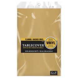 """Amscan Flannel-Backed Table Covers, 52"""" x 90"""", Gold, Pack Of 3 Covers"""