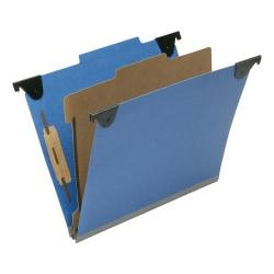 "SKILCRAFT 2/5 Tab Cut Letter Recycled Hanging Folder - 1"" Folder Capacity - 8 1/2"" x 11"" - Top Tab Position - 1 Divider(s) - Pressboard, Kraft, Fiber - Royal Blue - 60% - 10 / Box"