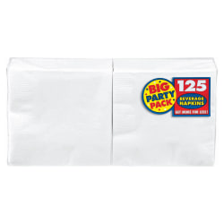 """Amscan 2-Ply Paper Beverage Napkins, 5"""" x 5"""", Frosty White, 125 Napkins Per Party Pack, Set Of 3 Packs"""