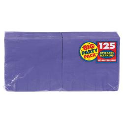 "Amscan 2-Ply Paper Beverage Napkins, 5"" x 5"", Purple, 125 Napkins Per Party Pack, Set Of 3 Packs"