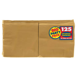 "Amscan 2-Ply Paper Beverage Napkins, 5"" x 5"", Gold, 125 Napkins Per Party Pack, Set Of 3 Packs"
