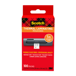 "Scotch® Thermal Laminating Pouches for Business Cards, 2-5/16"" x 3-7/10"", Pack Of 100 Sheets, TP5851-100"