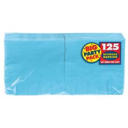 "Amscan 2-Ply Paper Beverage Napkins, 5"" x 5"", Caribbean Blue, 125 Napkins Per Party Pack, Set Of 3 Packs"