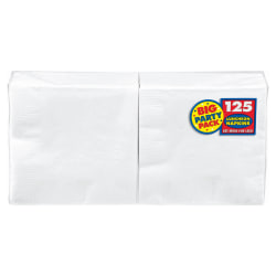"""Amscan 2-Ply Paper Lunch Napkins, 6-1/2"""" x 6-1/2"""", Frosty White, 125 Per Big Party Pack, Set Of 3 Packs"""