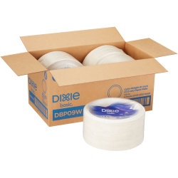 "Dixie® Round Paper Plates, 8-1/2"", White, Case Of 500 Plates"