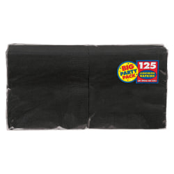 "Amscan 2-Ply Paper Lunch Napkins, 6-1/2"" x 6-1/2"", Jet Black, 125 Per Big Party Pack, Set Of 3 Packs"